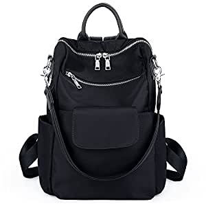 UTO Women Backpack Purse 3 Ways Oxford Waterproof Cloth Nylon Ladies Rucksack Shoulder Bag (Nylon Black_)