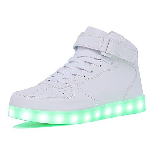 TOLLN Sneakers Mens Womens Boys Girls 11 Colors Led Sneakers Light Up Flashing Shoes G.White7.5 B(M) US Women / 5 D(M) US Men