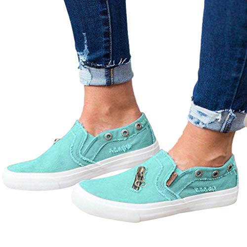 Amlaiworld Women Canvas Shoes Boat Shoes Summer Flat-Bottomed Casual Single Shoes Zipper Beach Shoes ()