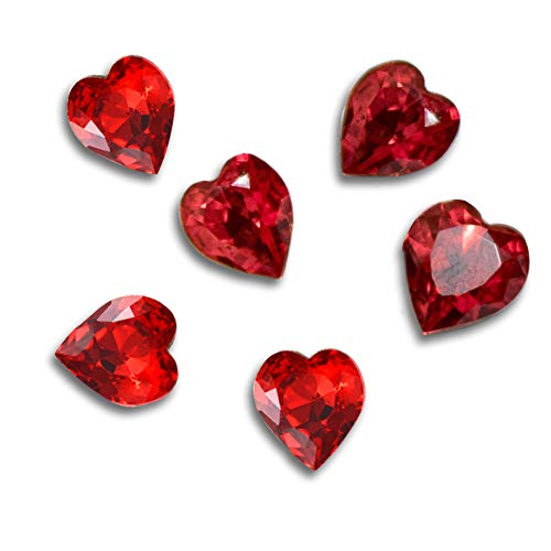 AKOAK 50 Pcs Special Charming 3D Nail Art Rhinestones Heart-shape Culet Glass Crystal Decorations for Nail Fashion Phone Shell Shoes,10 mm Diameter (Red)