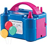 Prextex Portable Balloon Pump Electric Air Blower Dual Nozzle Balloon Inflator for Fast and Easy Bulk Balloons Filling for Event and Party Decoration (Blue, 110V)