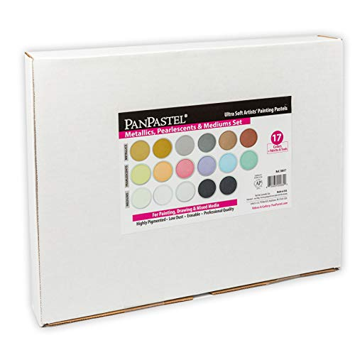 PanPastel 30817 Pearlescent, Metallic & Mediums 17 Color Ultra Soft Artist Pastel Kit w/Sofft Tools & Palette Tray