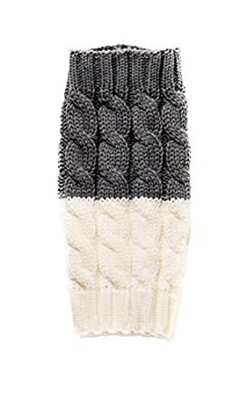 Spring Fever Women's Double Sided Knit Boot Cuffs Leg Warmers (Dark Grey/White)