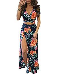 Women V Neck Tropical Print Clubwear Bandage Crop Top Split Maxi Skirts 2 Piece Set Outfits
