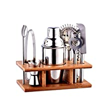 Haolide Cocktail Shaker Bar Set, 8 Pieces Stainless Steel Bar Set with Base Kitchen Accessories Cocktail Bar Tool Set, Cocktail Shaker Bar Combo