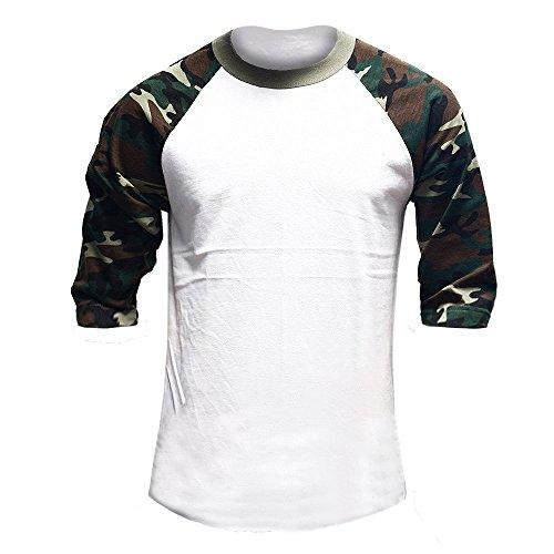 Misassy Mens Casual 3/4 Sleeve Cotton T Shirt Baseball Camo Raglan Jersey Shirt Tees,White,Medium (Camo Camouflage Raglan T-shirt)