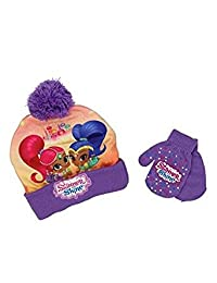 Beanie Cap - Shimmer and Shine - Purple w/Gloves Set Toddler size Hat