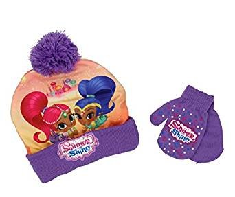 Beanie Cap - Shimmer and Shine - Purple w/Gloves Set Toddler size Hat ABG Accessories