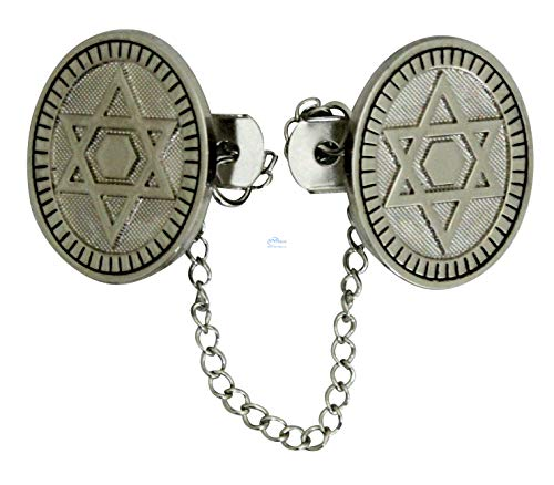 (SNSArts & Judaica Beautiful Nickel Tallit Clips 16cm- Star of David with Chain, Min Qty Order 2 - The Price is for 2)