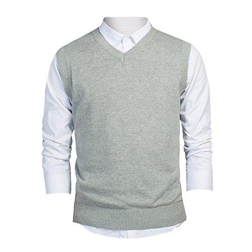 TopTie Mens Business Solid Color Plain Sweater Vest, Cotton Fit Casual (Cotton Cashmere Sweater Vest)