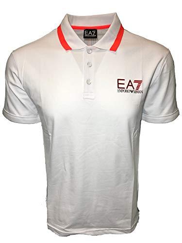 Emporio Armani EA7 Men s Jersey Polo Shirt (White, Small) 8fca24b6021