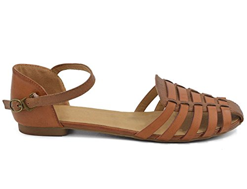 MaxMuxun Womens Roman Ankle Strap Cage Closed Toe Camel Flat Sandals Size 9 by MaxMuxun (Image #3)