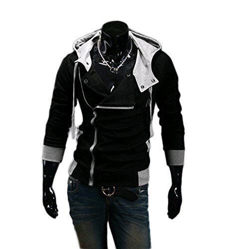 OUCHI® Fleece Slanted Zip Outfit Sweatshirt Hoody Jacket (Black) US M(Tag XL) (Assassin's Creed Outfit)