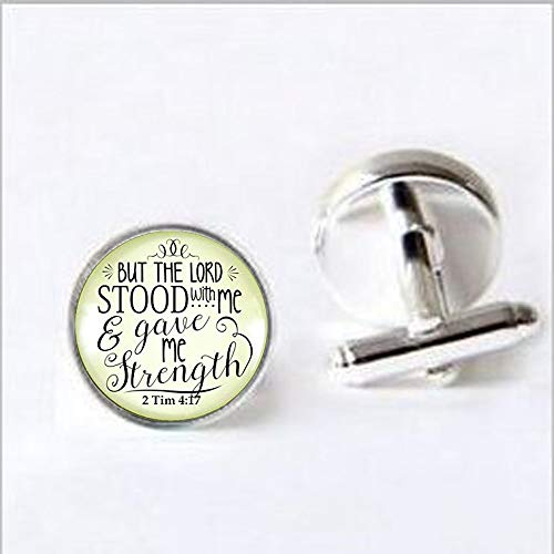 - Jesus Fish Faith Necklace But the Lord Stood With And Gave Me Strength Scripture Christian Jewelry For Women Cufflinks Cufflinks