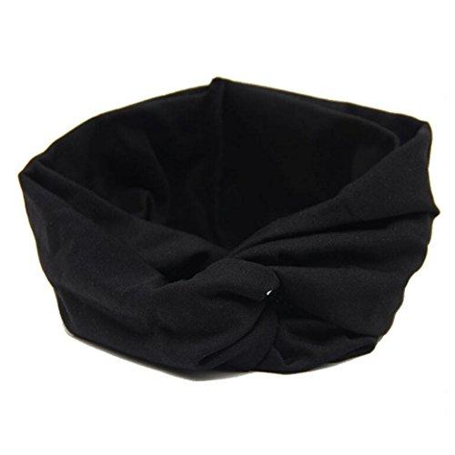 DEESEE(TM) Women Headwear Cross Sport Yoga Cloth Headband Turban Headscarf Wrap (Black) (Metal Dreadlock Comb)