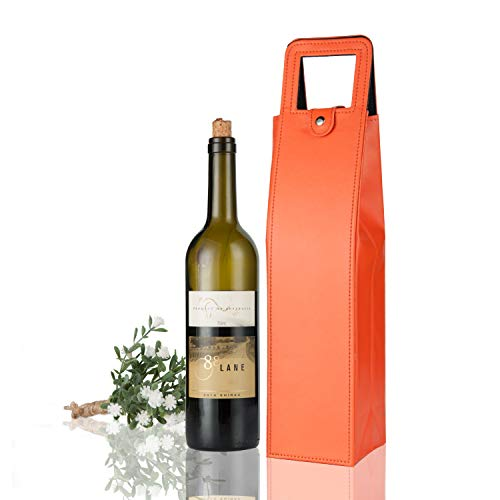 Yunko Upscale Leather Wine Bottle Protector Wine Tote Carrier Bag Reusable Gift Bag Single Wine Champagne Bottle Carrier Case Portable Travel Accessory Orange