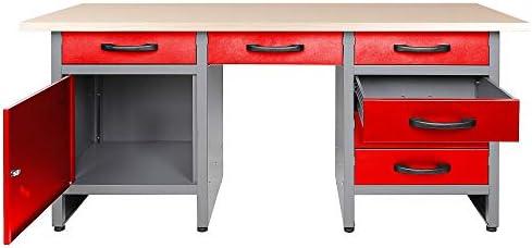 Ondis24 Werkbank 160 cm rot mit 6 Schiebern und T/ür abschlie/ßbar Werktisch f/ür Werkstatt Holz Arbeitsplatte