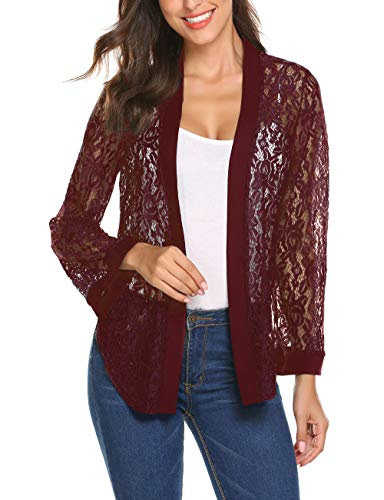 Lace Cardigan Sweater - Women Long Sleeve Bolero Shrug Lace Cropped Knitwear Cardigan Sweater Shrug Bolero Jackets Wine Red