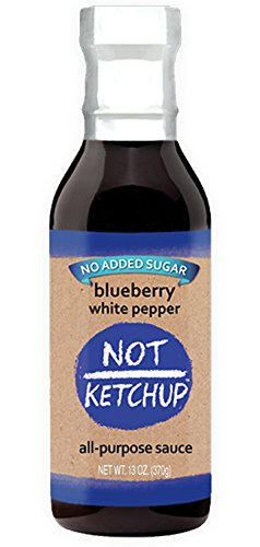 Barbeque Sauce Ketchup (Blueberry White Pepper Paleo BBQ Sauce, No Added Sugar, Gluten Free, All Natural, Dipping, Grilling and Marinating Sauce, 13 oz Bottle)