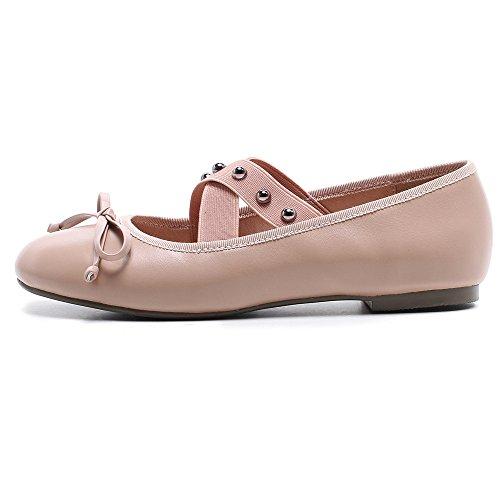 Neuf Sept Femmes En Cuir Véritable Bout Rond Talon Plat Bowknot À La Main Confortable Mary Jane Mocassins Chaussures Rose