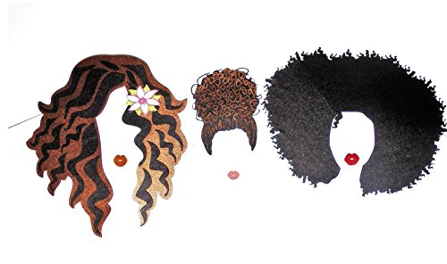 Hairstyles Photo Booth Party Proops inspired in fashion hair style, made whit Glitter foamy and card estock, curly afro ,bun hair , Wavy hair and lips by picwrap