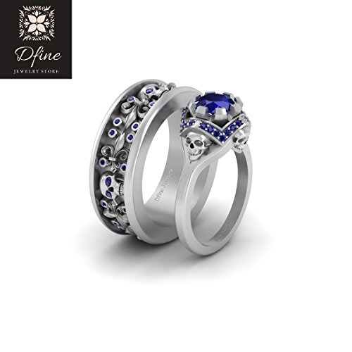 Gothic Spooky Skull Wedding Band Engagement Ring Set For Couples Blue Sapphire Fleur De Lis Skull Ring Band