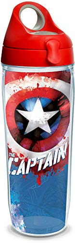 (Tervis 1250049 Marvel - Captain America Tumbler with Wrap and Red with Gray Lid 24oz Water Bottle, Clear)