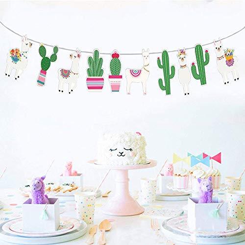 Llama Cactus Banner Garland, Llama Cactus Party Supplies, Llama Themed Birthday Party Decorations, Fiesta Cino De Mayo Mexico Baby Shower Alpaca Succulent Bolivian Peru Party Home Decor Photo Prop