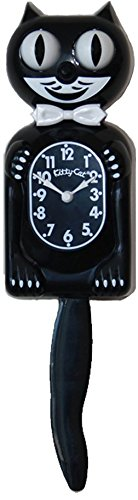 Kitty Cat Klock (Classic Black) (Black Cat Clock With Moving Eyes And Tail)