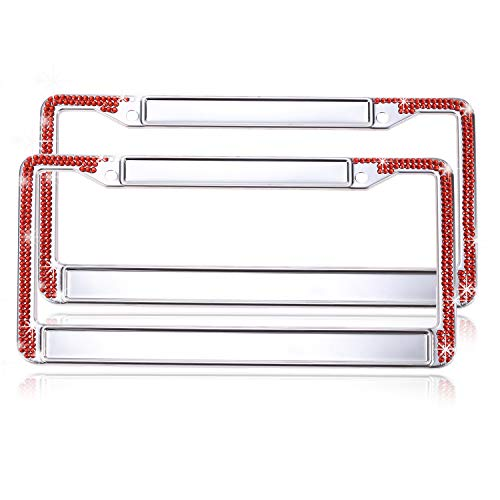 Global_Shopper Latest Release Red Bling Crystal License Plate Frame Cute DIY Style Rhinestone Car/Truck/SUV License Plate Holder (2 Frames) ()