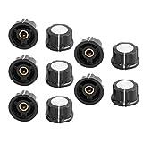 SuperWarehouse 10Pcs Ribbed Grip 6mm Shaft Potentiometer Control Rotary Knob Cap Black, swh772427ca224627