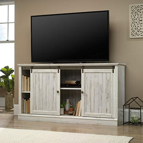 Sauder 423674 Barrister Lane 60'' Sliding Door Entertainment Credenza, White Plank Finish by Sauder (Image #3)
