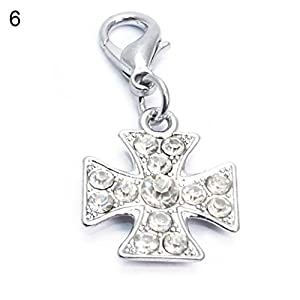 ZX101 Bling Rhinestone Tags Bone Star Cross Dog Paw Shape Pet Puppy Gift Neck Collar Pendant Accessory (Silver) from ZX101