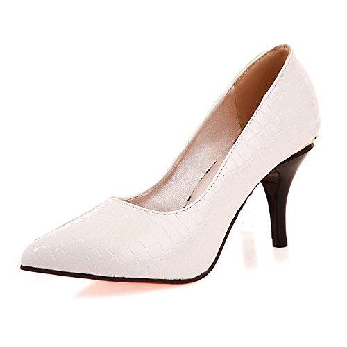 BalaMasa Womens Pull On High Heels White Solid Pumps Shoes - 4 B(M) ()