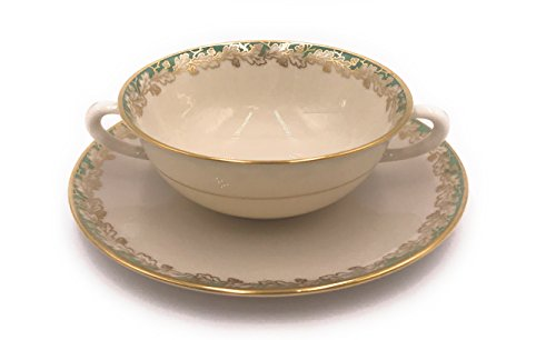 Lenox Oakleaf Green Cream Soup and Saucer