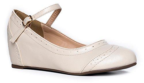 (J. Adams Minnie Mary Jane - Retro Round Toe Ankle Strap Wedge - Vintage Oxford)