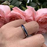 iTungsten 4mm Titanium Rings for Women Men Eternity Wedding Engagement Bands White/Blue Cubic Zirconia Inlay Domed Polished Shiny Comfort Fit
