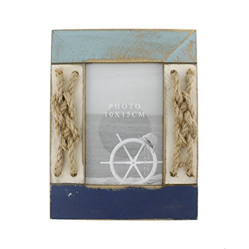 4x6 Inches Nautical Wood Family Picture Frame with Jute Rope Decoration (Blue C)