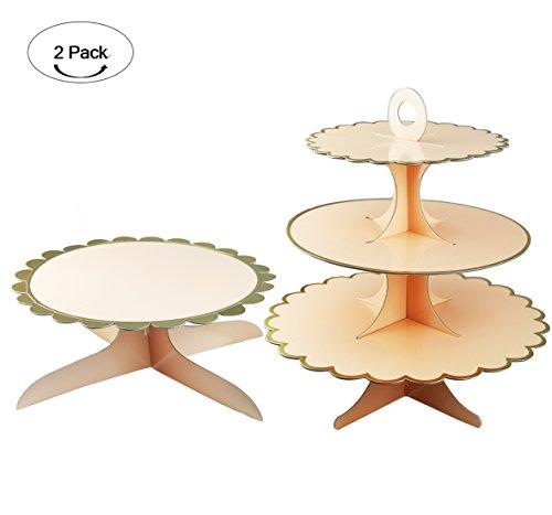 Cardboard Cupcake Stand, Aucheer 3 tier cupcake stand cardboard and cake stand - 2 Pack Pink with Golden edge -