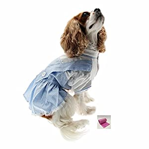 """Dorothy (Wizard of Oz) Blue Gingham Dog Dress Costume with Bags - Dog Sizes XS thru L (S - Chest 12-14"""", Neck 7-8.5"""", Back 9.25"""", Blue Gingham)"""