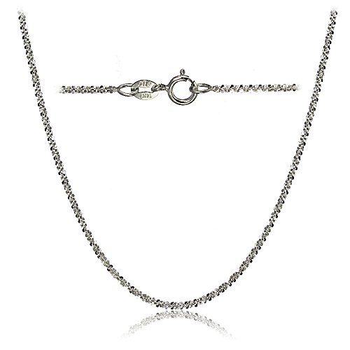 Bria Lou 14k White Gold 1.3mm Italian Rock Rope Chain Necklace, 16 Inches by Bria Lou