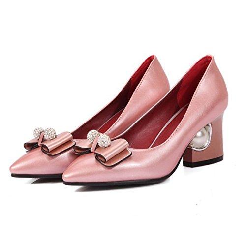 DIMAOL Chaussures pour Femmes PU Printemps Automne Nouveauté Confort Talons Talon Chaussures Bowknot Pearl pour Mariage & Soirée Rouge Rose,Rouge,Rose US5.5/EU36/UK3.5/CN35
