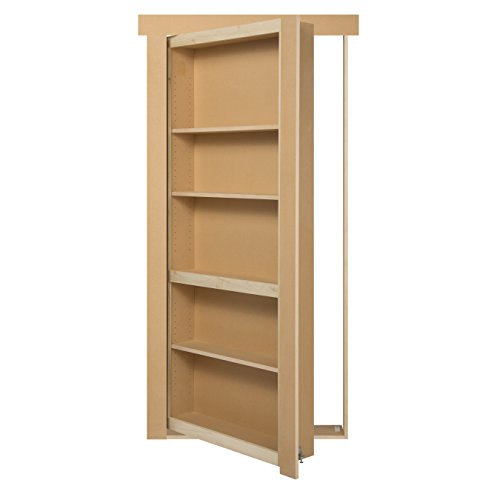 "Murphy door MD32KDPG Flush Mount UN-Assembled Paint Grade Wood Solid Core Interior Bookcase Door, Unfinished, 32"" W x 80"" H, Paint Grade, 32"" Length, 80"" Height"