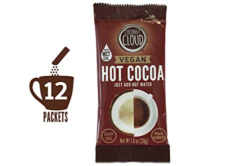 Coconut Cloud: Vegan Instant Hot Chocolate, Dairy Free | Delicious, Natural Made with Coconut Powdered Milk + MCT OIL | Single Serve Packets, Just add Water. (Perfect for on the Go), 12 Cocoa Sticks ()