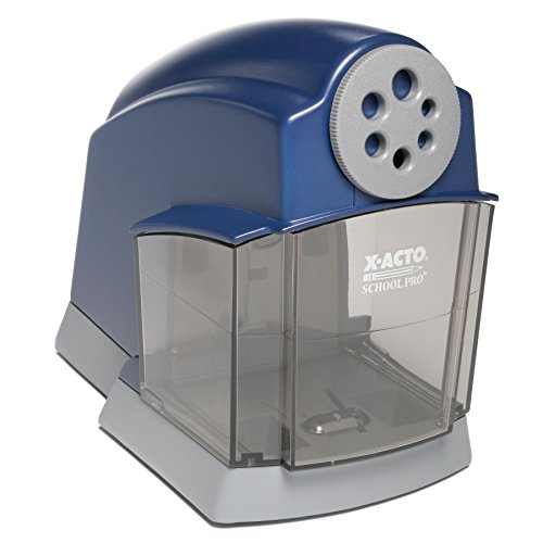 X-ACTO School Pro Classroom Electric Pencil Sharpener, Blue, 1 Count (Online Auto Manual)