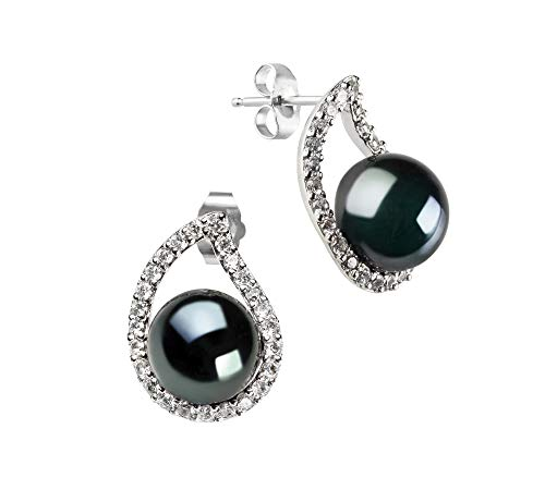 Isabella Black 9-10mm AA Quality Freshwater 925 Sterling Silver Cultured Pearl Earring Pair For Women ()