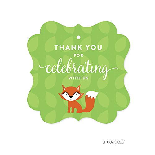 - Andaz Press Woodland Forest Baby Shower Collection, Fancy Frame Gift Tag, Thank You for Celebrating with Us!, 24-Pack