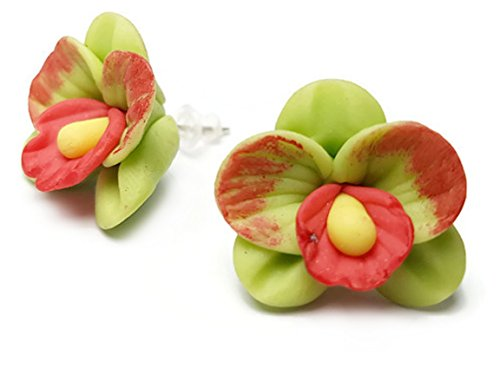 CHADADA Jewelry Handcrafted Polymer Clay Orchids Post Stud Earrings (Green), EH41