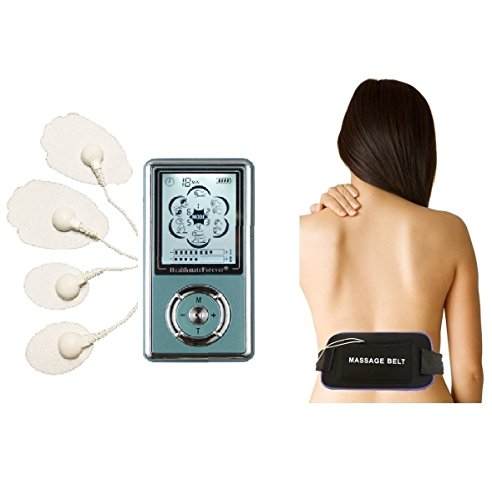 Hands Free Massage Device - 6 Modes Hands Free Electronic Pulse Massages Electro Therapy Devices + Multi Belt + 3.5mm 4in1 Wire Connector Muscle Conditioning for Electrotherapy Pain Management Light & Portable the Unit Is Powered By Replaceable Rechargeable Lithium Battery Free Illustrated Reference Booklet Limited Time Offer. Lifetime Warranty FDA Cleared HealthmateForever Plus6is