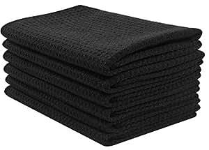 SINLAND Thick Microfiber Waffle Weave Dish Cloths Dishcloths Washcloths Facial Cloths 6 Pack Black